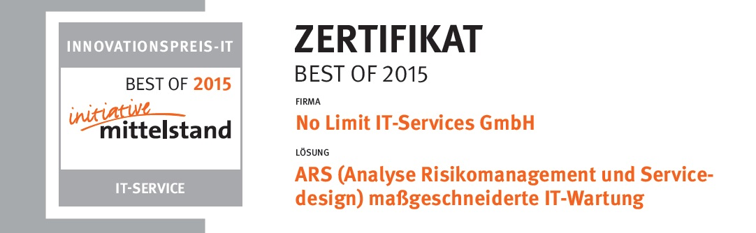 Zertifikat Best of 2015 Innovationspreis